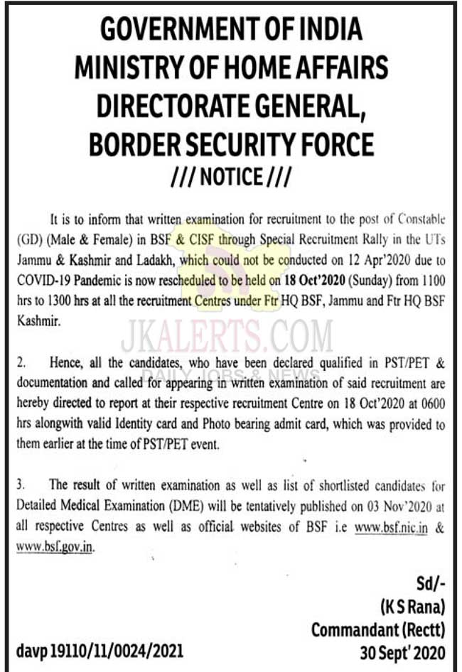 BSF & CISF written examination schedule in J&K and Ladakh.