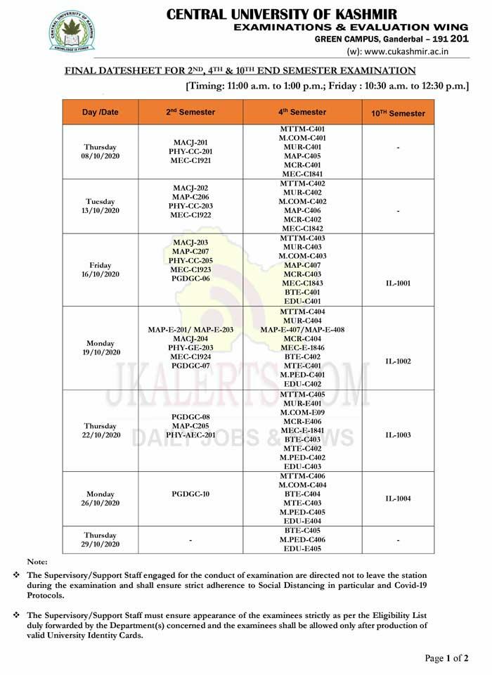 Central University Kashmir Final Date Sheet