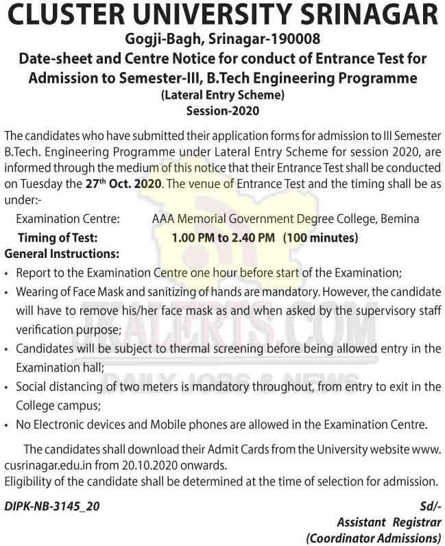 Cluster University Srinagar Lateral Entry Scheme Entrance Test Date sheet and Centre notice.