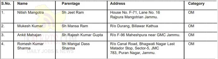 DSE Jammu Junior Scale Stenographer Selection list.