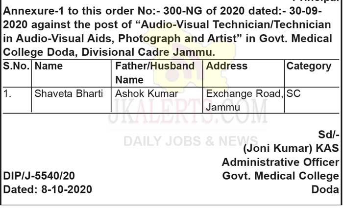 GMC Doda Appointment of candidate for various posts.