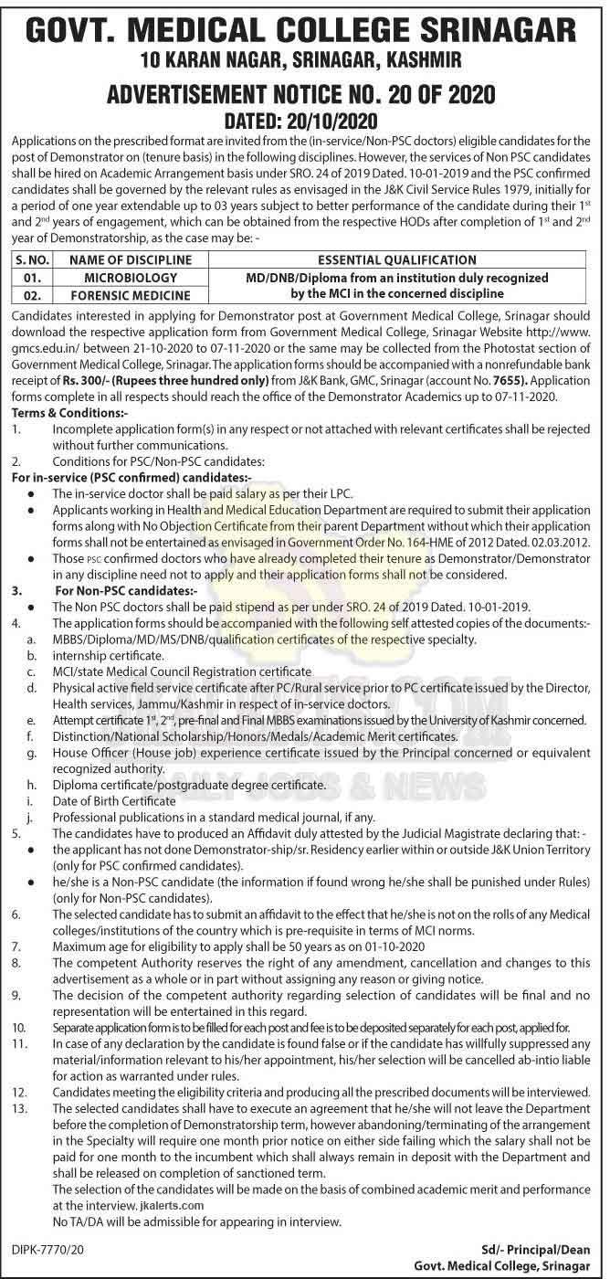 GMC Srinagar Demonstrator Jobs Recruitment.