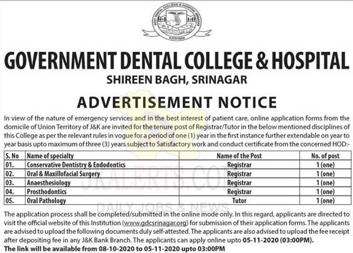 Govt Dental College & Hospital Jobs Recruitment 2020