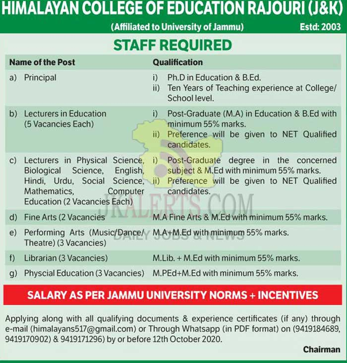 Himalayan College Of Education Jobs, Himalayan College Of Education Recruitment 2020. Teachng jobs, Non teaching Jobs
