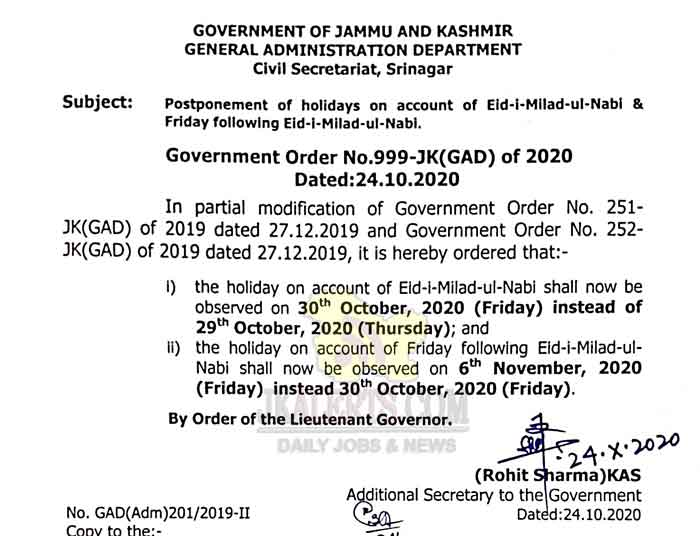 Holiday of Eid-i-Milad-ul-Nabi shall now be observed on 30th Oct 2020.