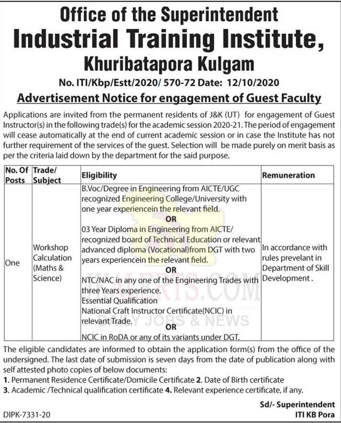 ITI Kulgam Guest Faculty Jobs Recruitment 2020.