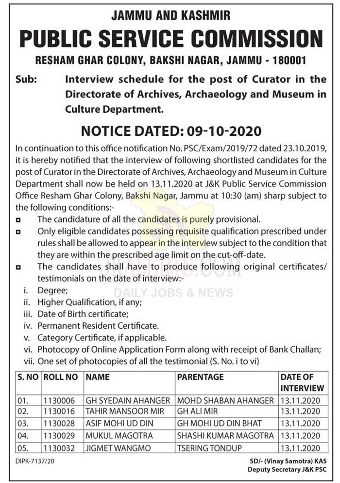 JKPSC Interview schedule for the post of Curator.