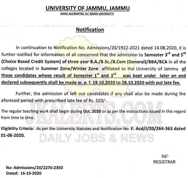 Jammu University Admission under CBCS to semester-III & V.