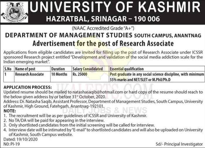 Kashmir University Research Associate Jobs Recruitment 2020.