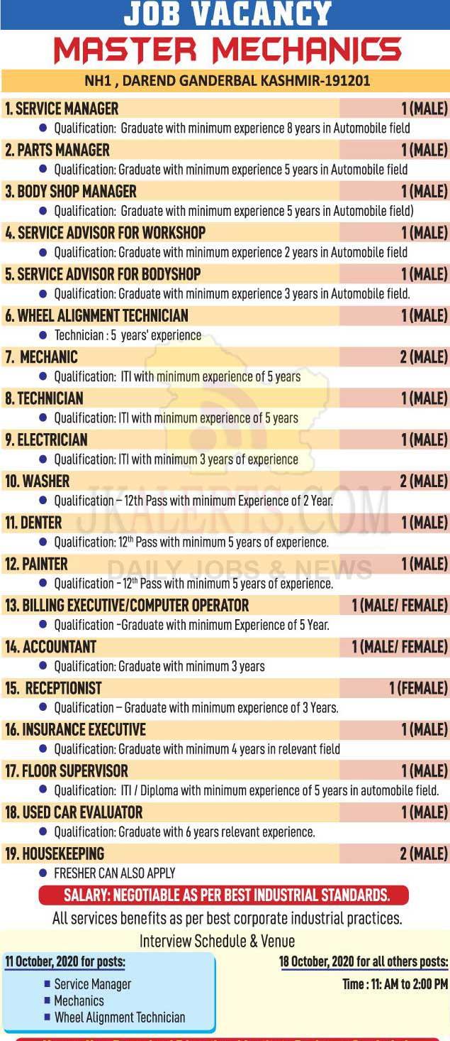 Master Mechanics Jobs Recruitment 2020.