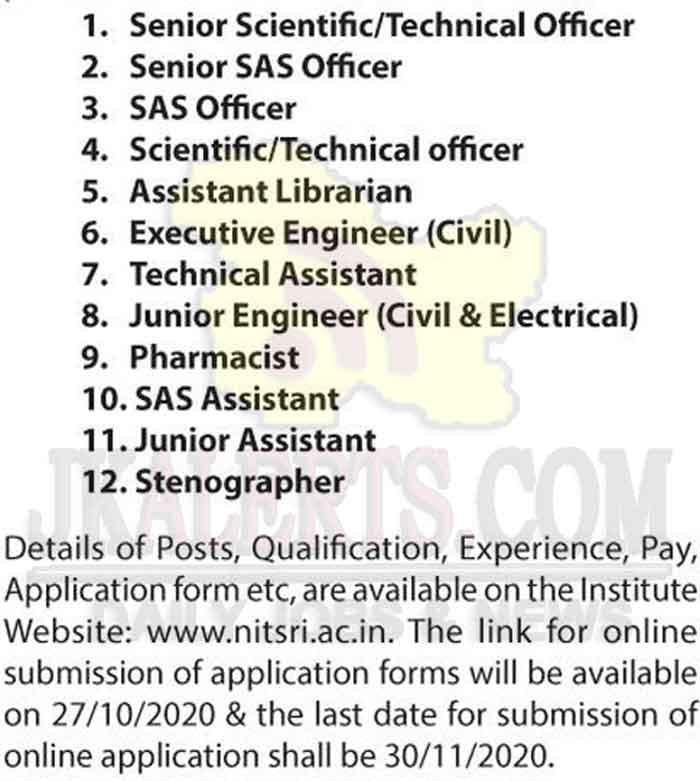 NIT Srinagar Non-Teaching Jobs Recruitment 2020.
