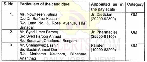 SKIMS Medical College Srinagar Selection List for Various Posts.