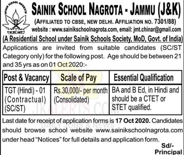 Sainik School Nagrota Jammu Jobs Recruitment 2020.