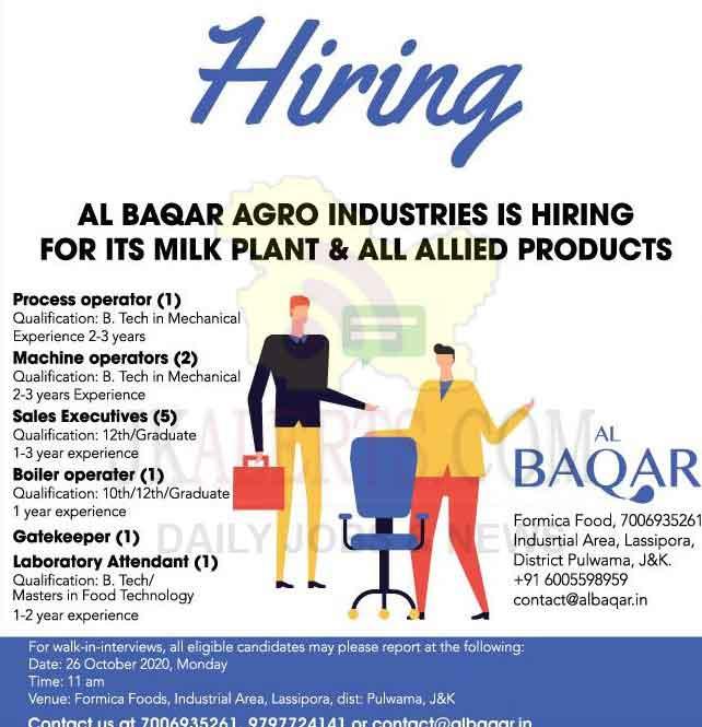 AL Baqar Agro Industries Pulwama Jobs.