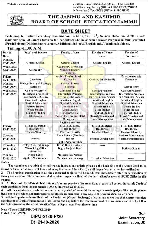JKBOSE Class 12th Date Sheet Session Bi-Annual 2020 Private Jammu Division.