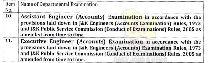 JKPSC Assistant Engineer, Executive Engineer Departmental Examination.