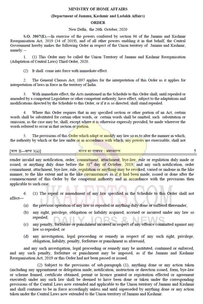 Ministry of Home Affairs notifies UT of Jammu and Kashmir Reorganisation (Adaptation of Central Laws) Third Order, 2020.
