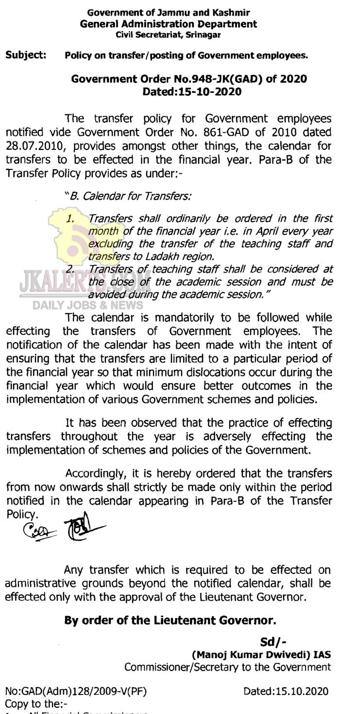 Govt orders new transfer policy for employees.