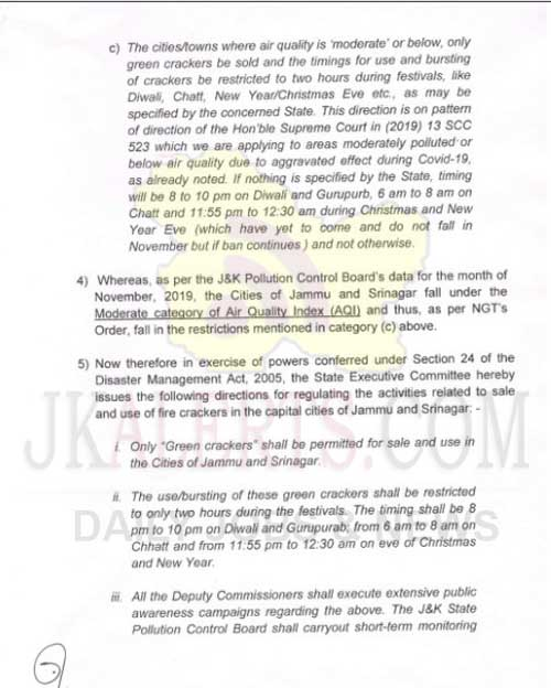 J&K Govt Restrictions on sale and use of fire crackers during festival season.