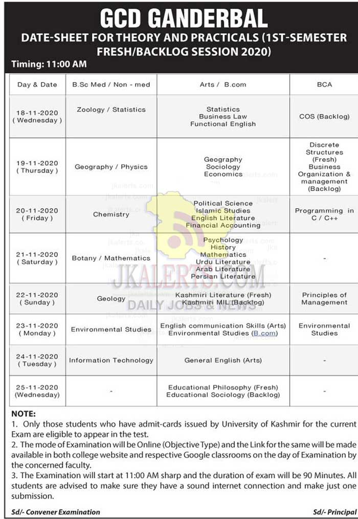 GDC Ganderbal Date Sheet for Theory & Practical 1st Sem 2020.