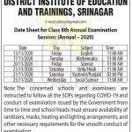 DIET Srinagar Class 8th Date Sheet.