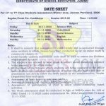 Date Sheet for Class 1st to 7th Jammu winter zone.
