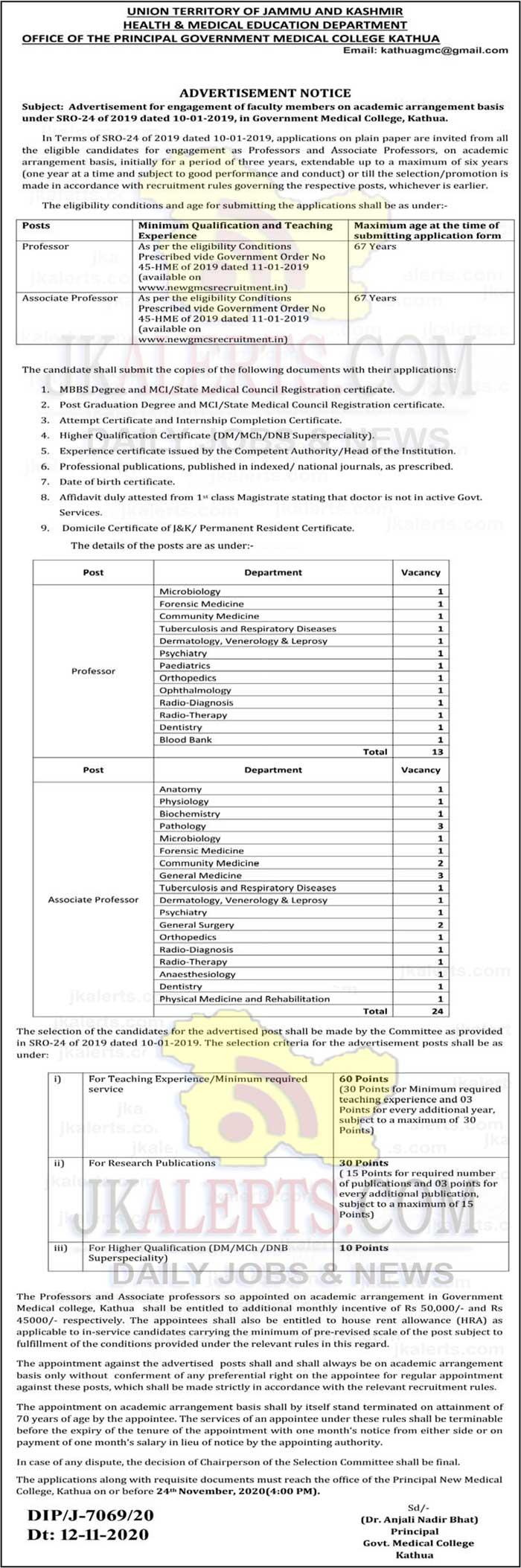 GMC Kathua Jobs Recruitment 2020   Engagement of faculty.