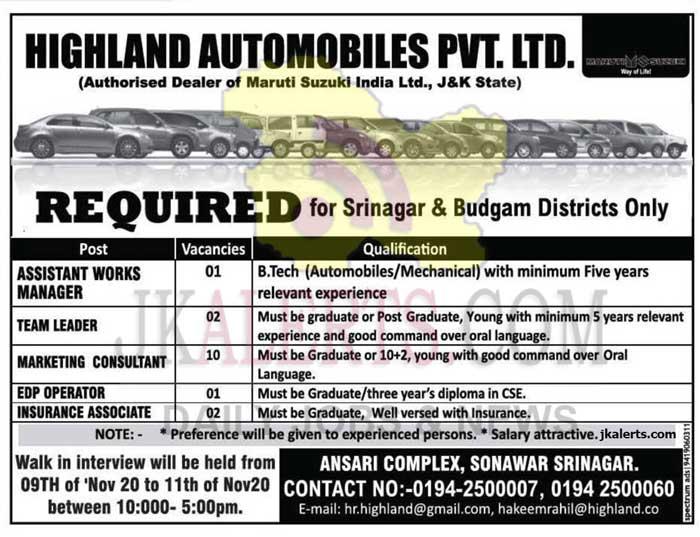 Highland Automobiles Pvt. Ltd Jobs Recruitment 2020.