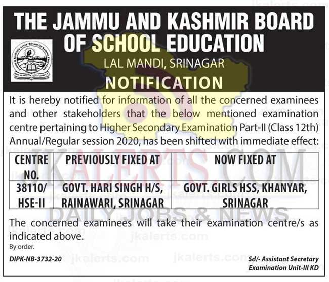 JKBOSE Class 12th Centre Change Notification