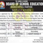 JKBOSE Class 10th, 12th Centre change notification.