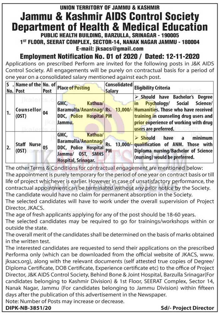 J&K AIDS Control Society Jobs Recruitment 2020.