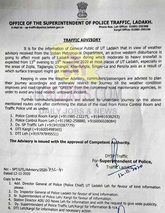 Ladakh National Highway Traffic update.
