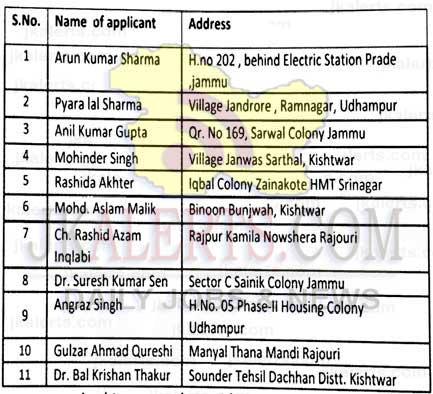 J&K Department of Rural Development and Panchayati Raj interview Schedule.