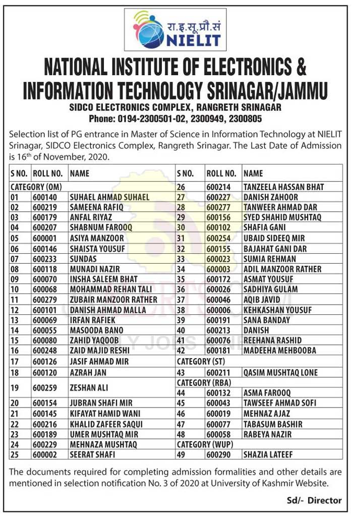NIELIT Srinagar Selection list of PG Entrance in Master of Science.