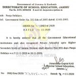 Pooja Holiday's in Jammu Division