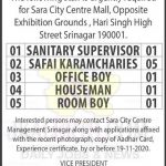 Sara City Centre Mall Srinagar Jobs,Srinagar jobs, Kashmir Jobs ,Jobs in Srinagar,