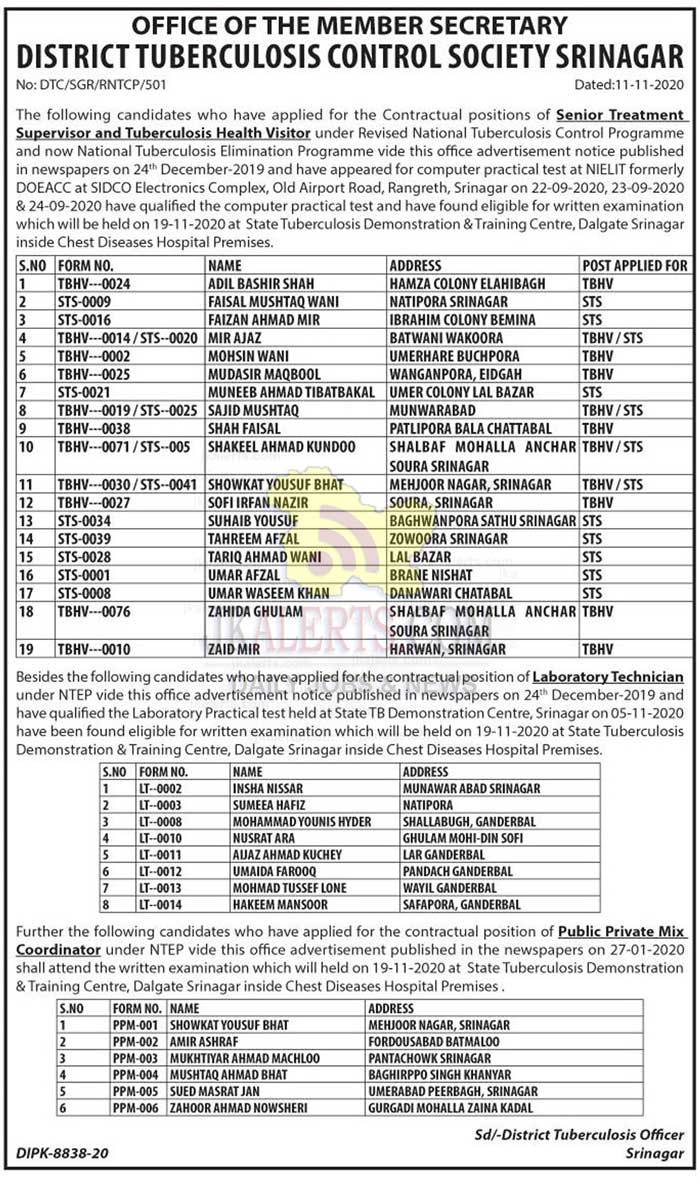 J&K District TB Control Society Kashmir List Of eligible candidate for written test.
