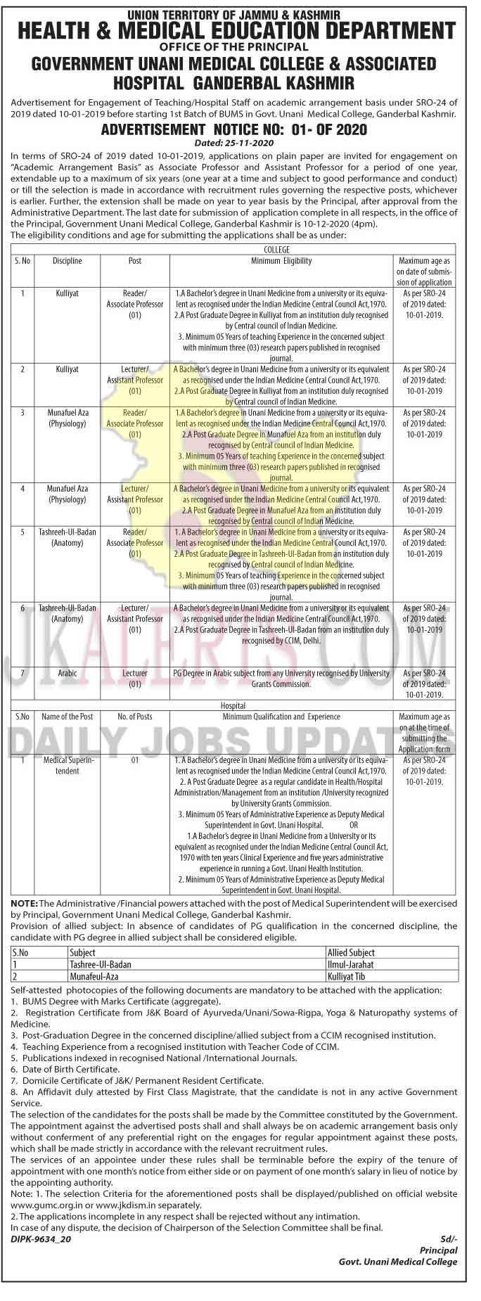 Govt Unani Medical College and Associated Hospital Kashmir Jobs recruitment 2020.