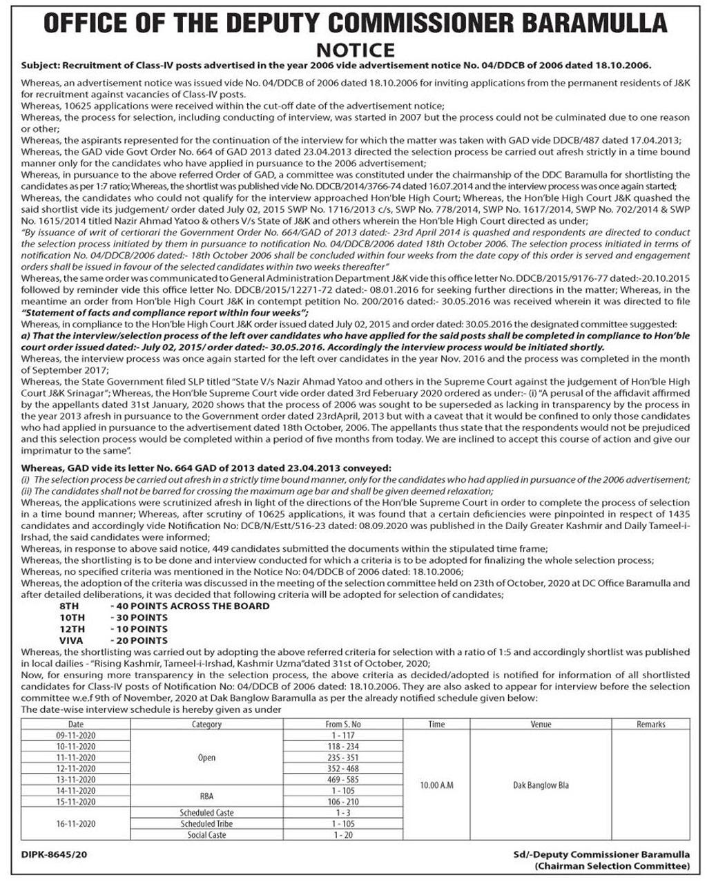 DC Baramulla Recruitment of Class-IV posts: Interview Schedule.