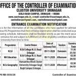 Cluster University Srinagar Entrance Examination notification.