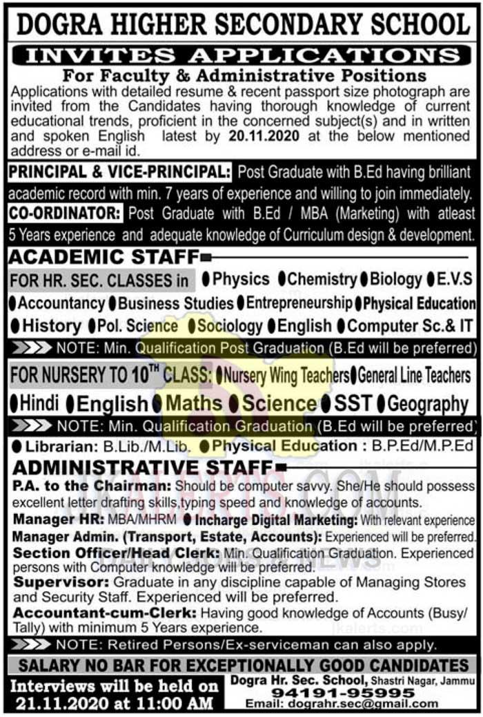 Dogra Higher Secondary School Jammu Jobs Recruitment 2020.