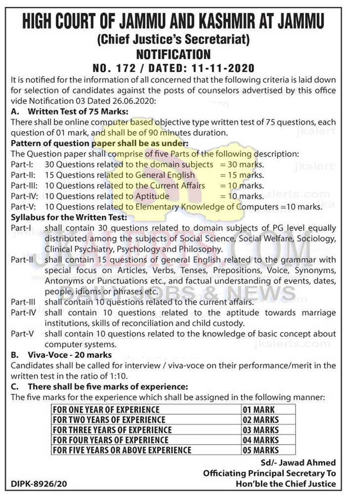 J&K High Court Selection Criteria for counselors.