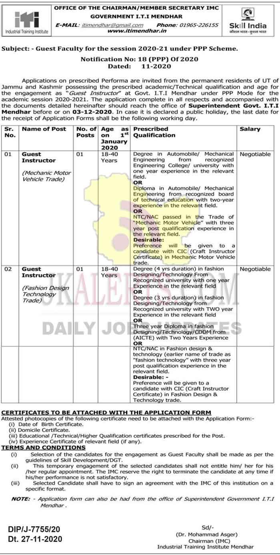 Govt. I.T.I Mendhar Jobs Recruitment 2020. Guest faculty Posts.