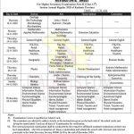 JKBOSE Date sheet Class 12th Annual Regular 2020 Kashmir Province.