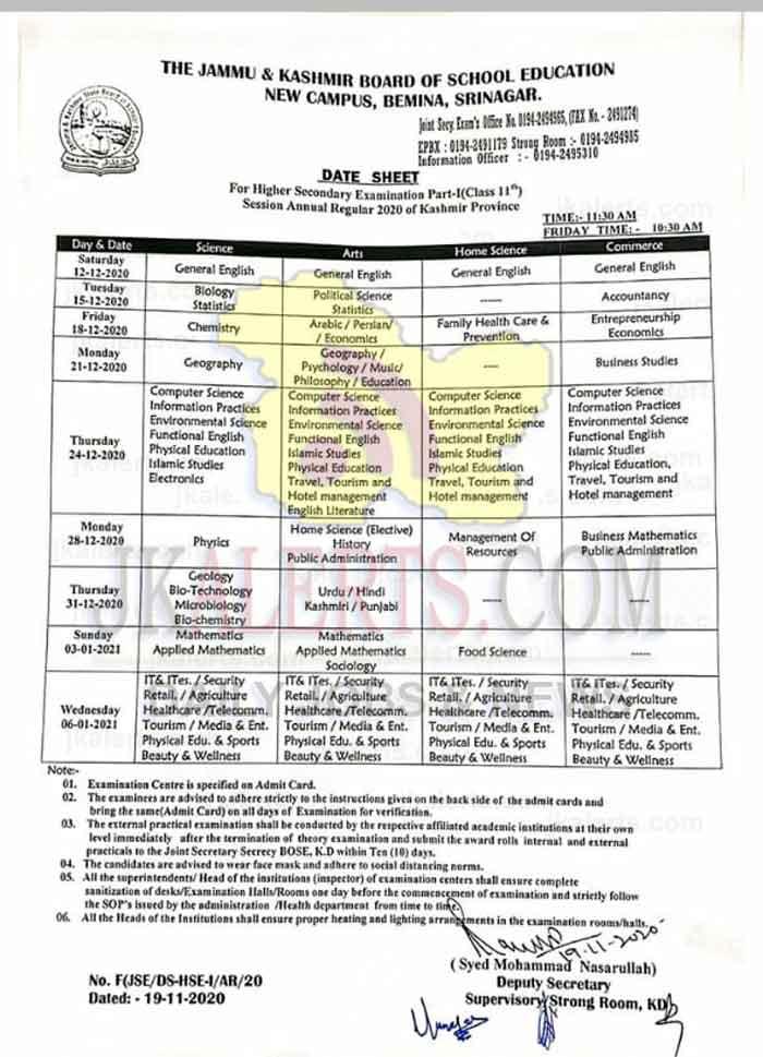 JKBOSE Class 11th Date sheet Annual Regular 2020.