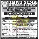 IBNI SINA Nursing College Budgam Jobs Recruitment 2020.