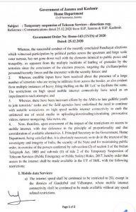 J&K Govt extend restriction on 4G internet services till January 8.