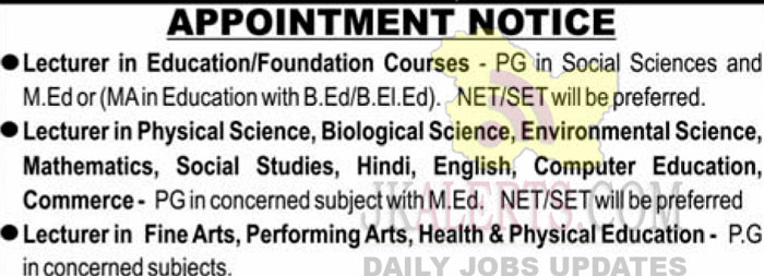 Dogra College Of Education Jammu Jobs Recruitment Lecturer posts.