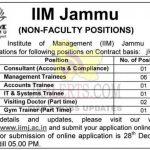 IIM Jammu Jobs Recruitment 2020 Non-Faculty positions.