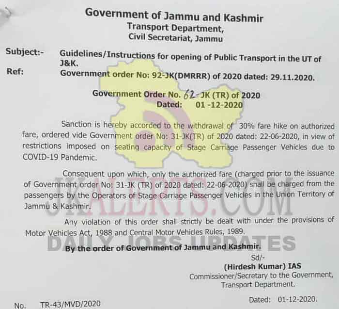 J&K Govt withdraws 30% fare hike on Public Transport.